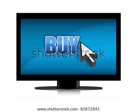 buying in tv illustration design - stock photo