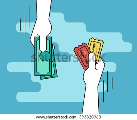 Buying tickets. Flat line contour illustration of human hand purchasing two tickets by cash and other hand gives the tickets - stock photo