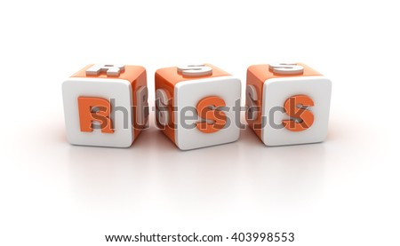 Buzzword Blocks Spelling RSS Text on White Background - Reflections and Shadows - High Quality 3D Rendering  - stock photo