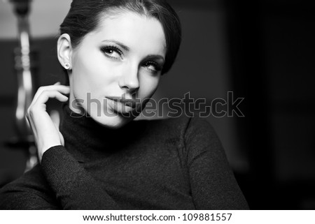 BW portrait of attractive brunette sexy girl - stock photo