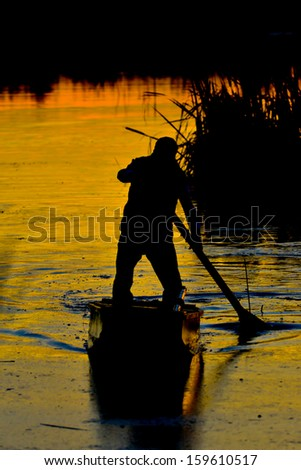 by boat in delta - stock photo