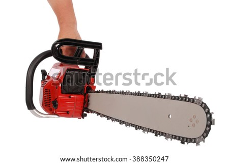 By one hand holding a chainsaw isolated on white - stock photo
