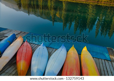 By the canoe dock on a summer day - stock photo