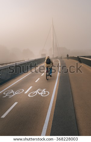 Byens bro (The City bridge) in Odense. A bicycle and pedestrian bridge. - stock photo