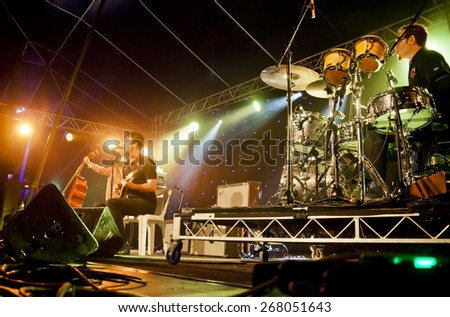 BYRON BAY, AUSTRALIA - APRIL 2 : G.Love & Special Sauce play on the  Delta stage at the 2015 Byron Bay Bluesfest. 26th annual Blues and Roots festival. - stock photo