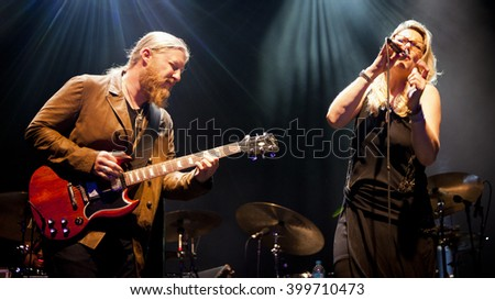BYRON BAY, AUSTRALIA - MARCH 24 : Tedeschi Trucks Band plays on the Crossroads stage at the 2016 Byron Bay Bluesfest. 27th annual Blues and Roots festival. - stock photo
