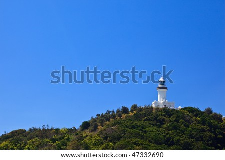 Byron Bay Lighthouse Viewed From Park Entrance in New South Wales, AU - stock photo