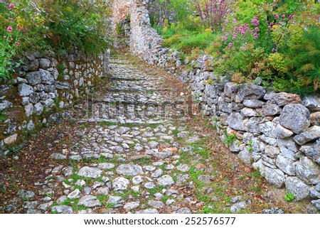 Byzantine road paved with stone inside fortified city of Mystras, Greece - stock photo
