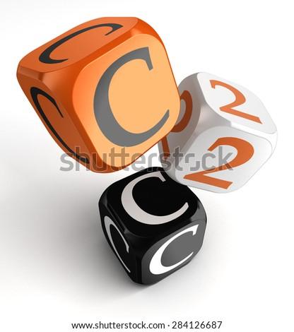 c2c client to client orange black dice blocks on white background - stock photo
