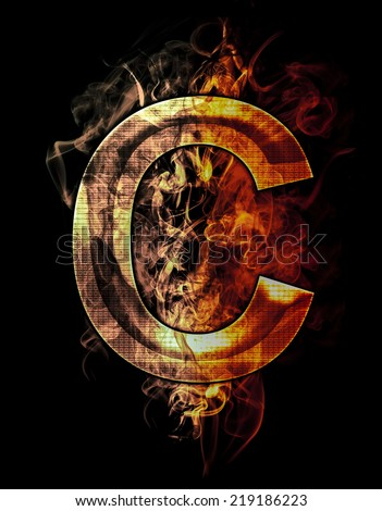 c, illustration of  letter with chrome effects and red fire on black background - stock photo