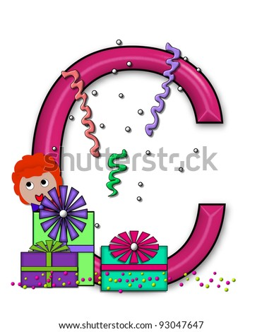 """C, in the alphabet set """"Birthday Letters"""", is surrounded by colorfully wrapped presents complete with bows.  Woman hides behind presents and peeks out pretending surprise. - stock photo"""
