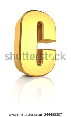 C letter. Gold metal letter on reflective floor. White background. 3d render - stock photo