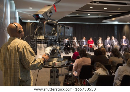 "C-SPAN TV covers Newseum panel for Martin Luther King 50th Anniversary,  ""No Lie Can Live Forever,"""" Washington, D.C.  - stock photo"