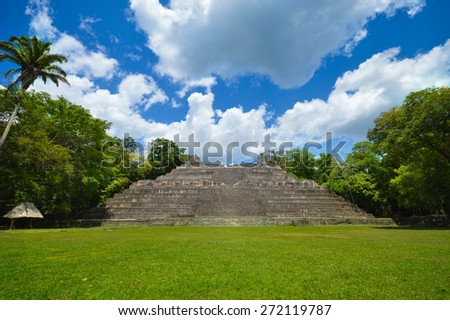 Caana pyramid at the Caracol archaeological site of Mayan civilization in Western Belize - stock photo