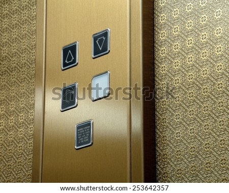 Cab passenger lift mechanism and control buttons                                - stock photo