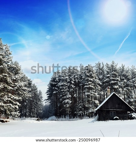 cabana on  bank of  frozen lake, followed by winter forest - stock photo