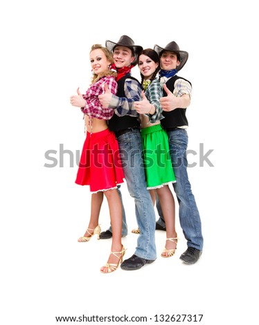 cabaret dancer team dressed in cowboy costumes dancing.  Isolated on white background in full length. - stock photo