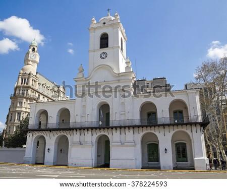 Cabildo building facade as seen from Plaza de Mayo. , Buenos Aires, Argentina - stock photo