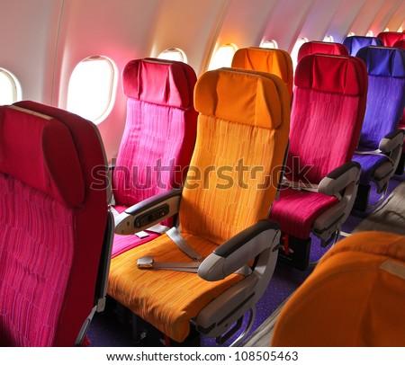 Cabin airplane seats - stock photo