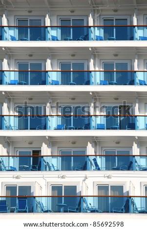 Cabin balconies of a modern cruise ship. - stock photo