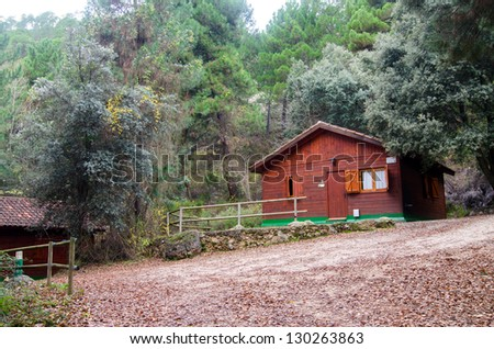 Cabin located in a forest of Spain - stock photo