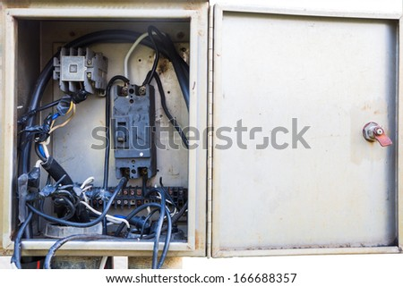 Cabinet box switches power to the cable - stock photo