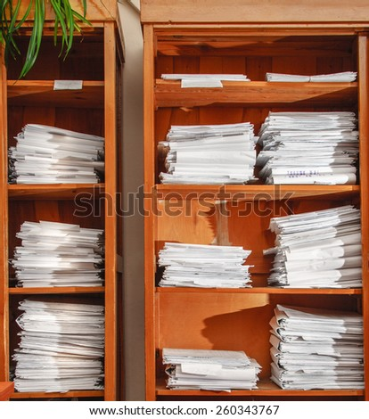 Cabinet for keeping paper documents in toning - stock photo