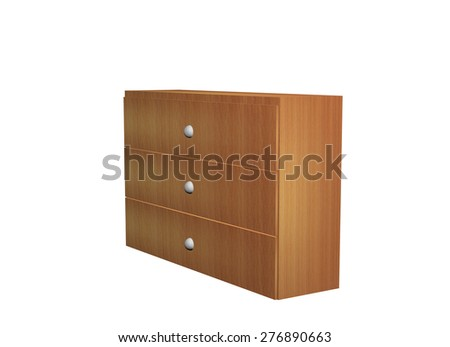 Cabinet Wooden. 3d Illustration Isolated White Background  - stock photo