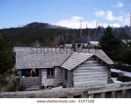 Cabins in Great Smoky Mountains National Park - stock photo