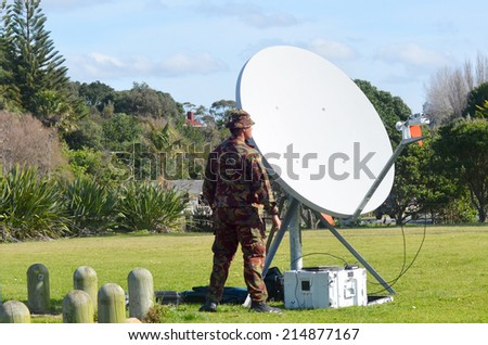 CABLE BAY, NZL - SEP 03 2014:New Zealand Army soldiers. New Zealand personnel served in the First Gulf War, Iraq and are currently serving in Afghanistan and several UN and other peacekeeping missions - stock photo