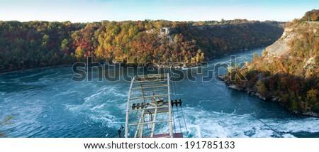Cable car over a river, Whirlpool Aero Car, Niagara River, Niagara Falls, Ontario, Canada - stock photo