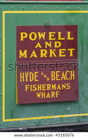 Cable car sign, Fisherman's Wharf, San Francisco, California - stock photo