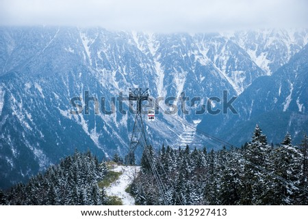 Cable car station, Shinhotaka Ropeway, Takayama Gifu, Japan : allows visitors to take in spectacular views as the crystal-clear blue sky in a grand panoramic view of the Northern Japan Alps. In autumn - stock photo