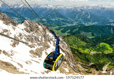 Cable car to Dachstein Glacier in Austria - stock photo