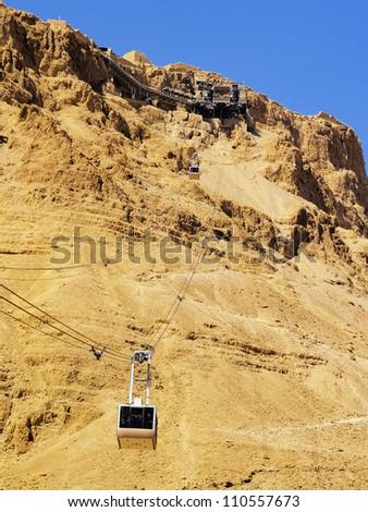 Cable Car to Masada, Israel - stock photo