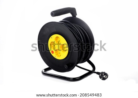 cable reel made of plastic  - stock photo