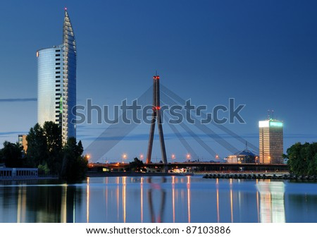 Cable-stayed bridge across Daugava river in Riga, Latvia. - stock photo