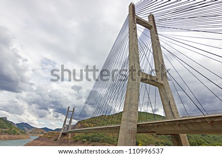 "Cable-stayed bridge in ""Barrios de Luna"" reservoir, Leon. - stock photo"