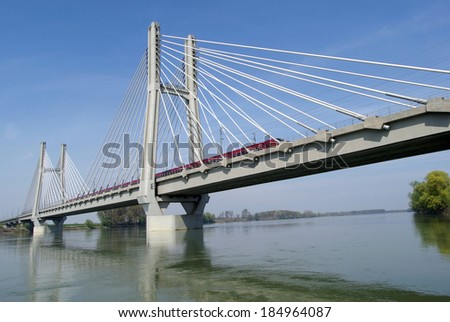 Cable-stayed railway bridge across river Po in Northern Italy - stock photo