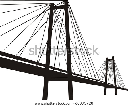 Cable-stayed suspension bridge - black silhouette, isolated  illustration on white background - stock photo