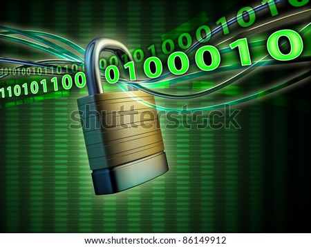 Cables and code streams going through a padlock shackle. Digital illustration. - stock photo