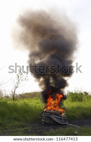 Cables in flames - stock photo