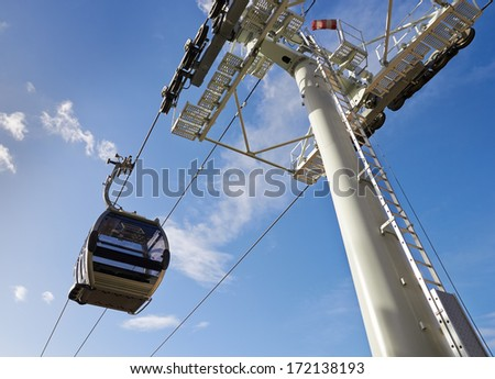 Cableway against blue sky, Porto, Portugal - stock photo