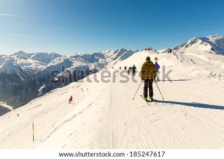 Cableway and chairlift in ski resort Bad Gastein in mountains, Austria. Austrian alps - nature and sport background - stock photo