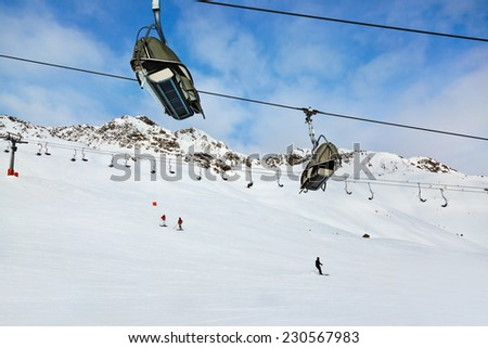 Cableway at mountains ski resort Solden Austria - nature and sport background - stock photo