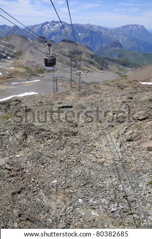 cableway - Les Deux Alpes - France 1600 - 3200m - stock photo