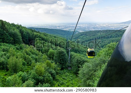 Cableway wagon view in Polish mountains - stock photo