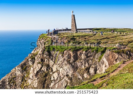 Cabo da Roca (Cape Roca) is a cape which forms the westernmost extent of mainland Portugal and continental Europe  - stock photo