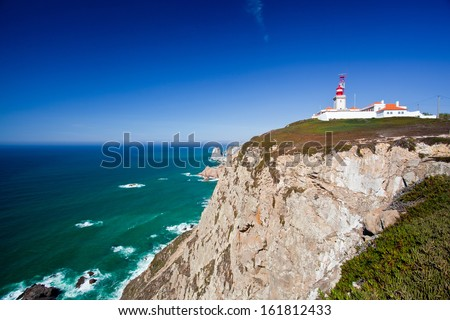 Cabo da Roca (Cape Roca) is a cape which forms the westernmost point of both mainland Portugal, mainland Europe and the Eurasian land mass. Sintra, Portugal   - stock photo