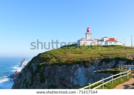 Cabo da Roca (Cape Roca), West most point of Europe, Portugal - stock photo